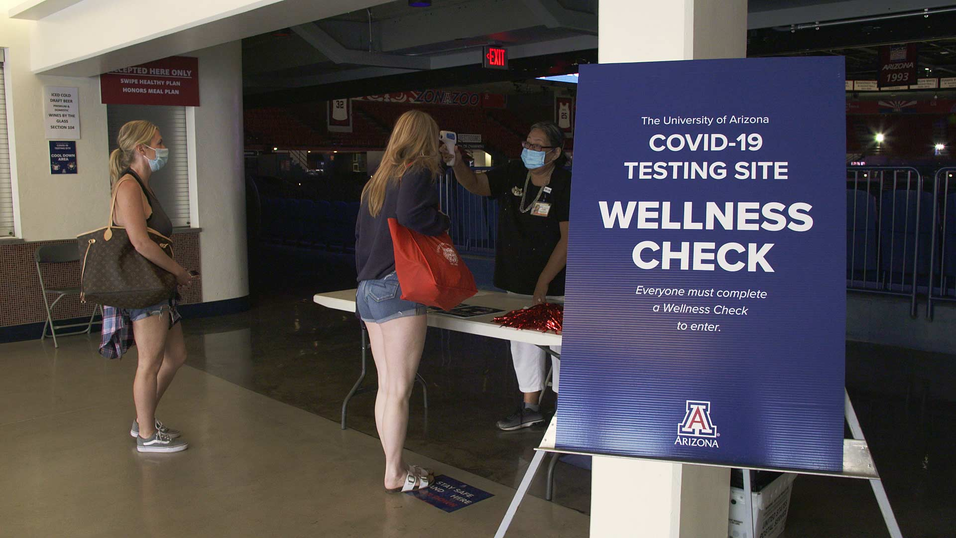 Students check in at a COVID-19 testing site at the University of Arizona. August 2020.