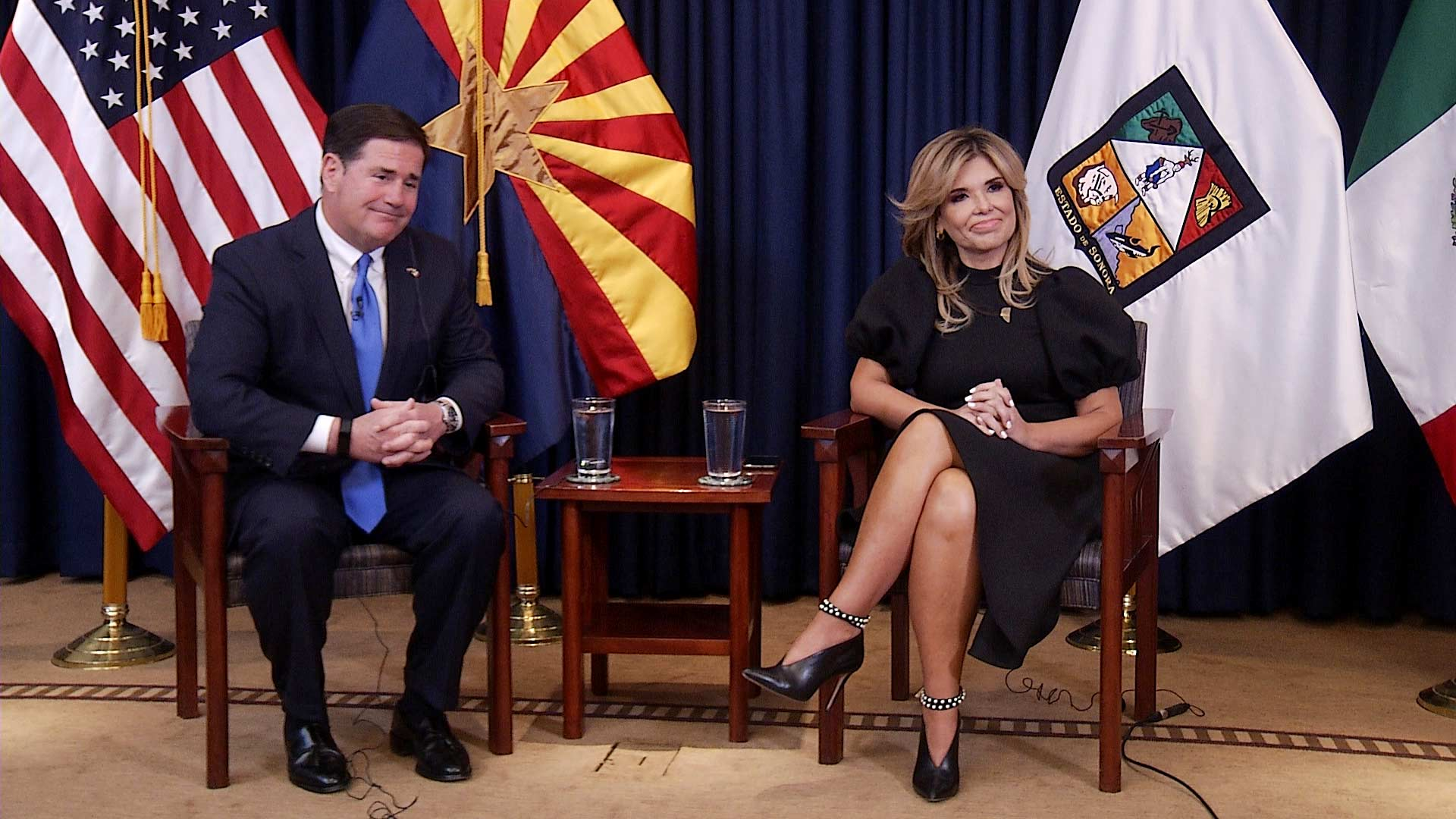 Arizona Gov. Doug Ducey and Sonora, Mexico Gov. Claudia Pavlovich sit for a joint interview in Phoenix on May 21, 2021.