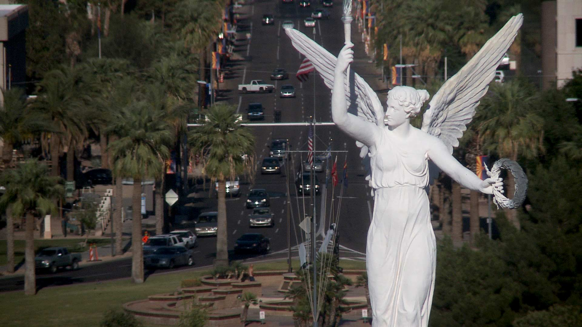 File image of the Winged Victory weather vane atop the copper dome at the historic Capitol Building in Phoenix.