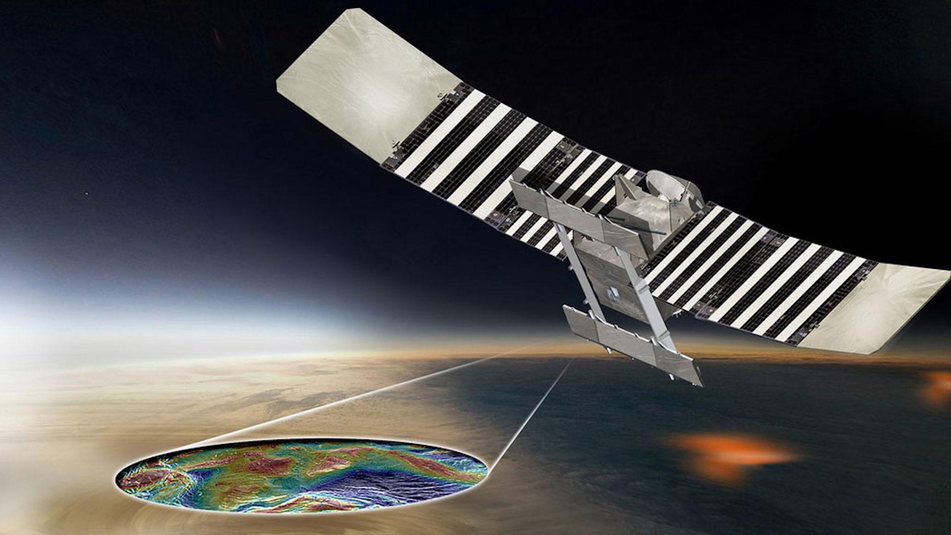 Illustration of proposed Veritas spacecraft measuring subsurface features of Venus.