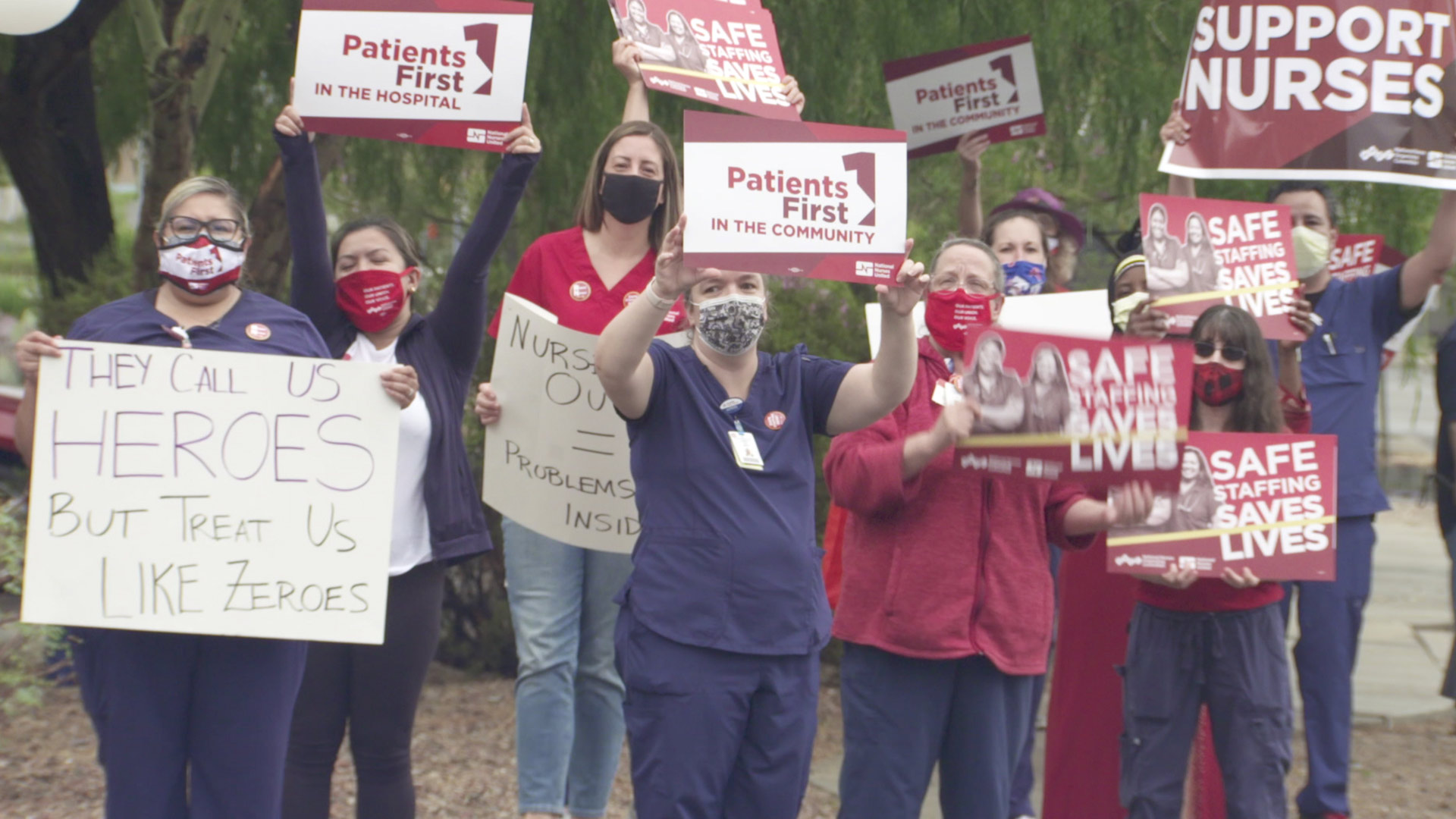Nurses protest in front of St. Mary's Hospital in Tucson. July 14, 2021