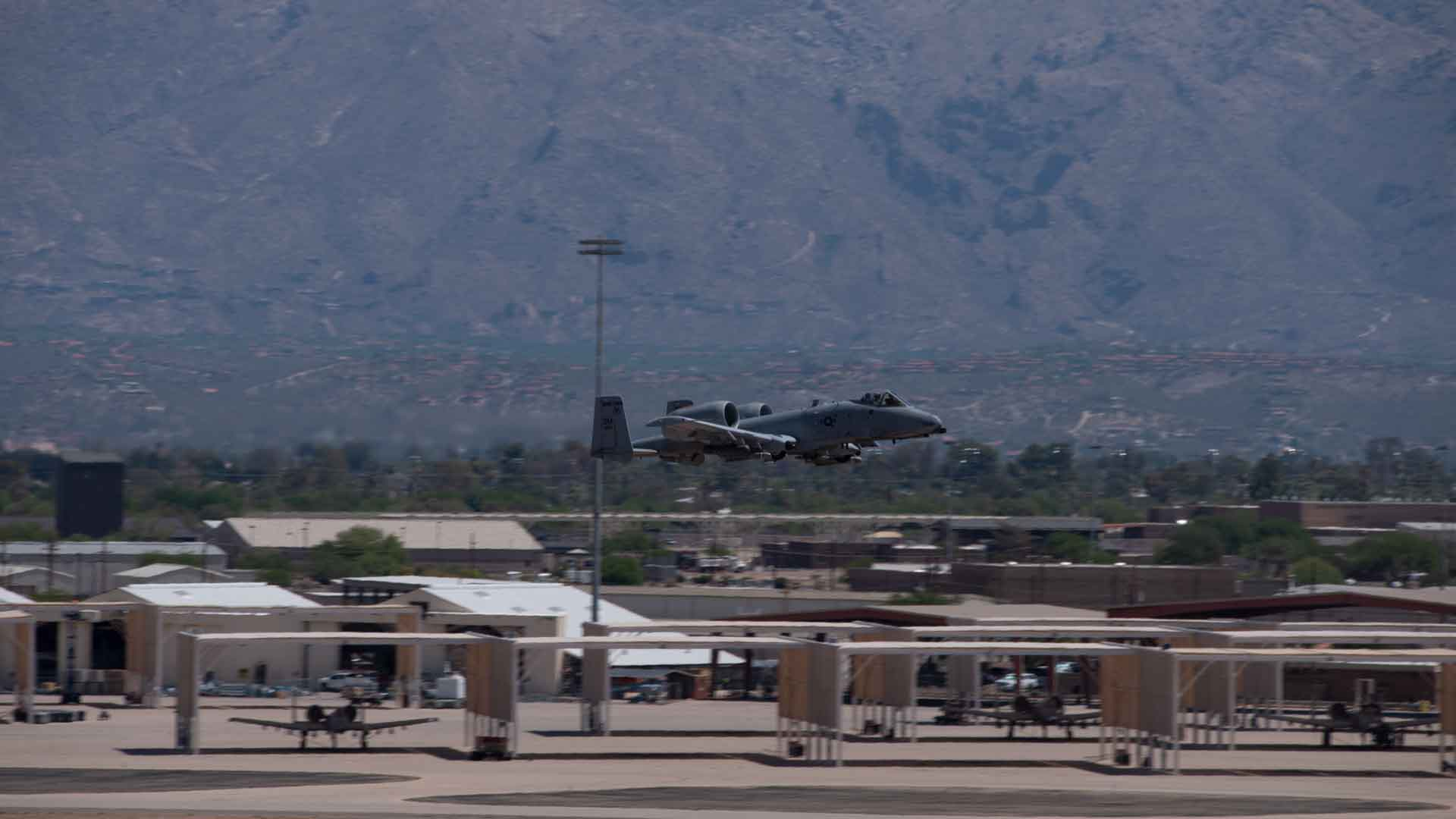 An A-10 makes a pass over the runway at Tucson's Davis-Monthan Air Force Base.  July 2021.