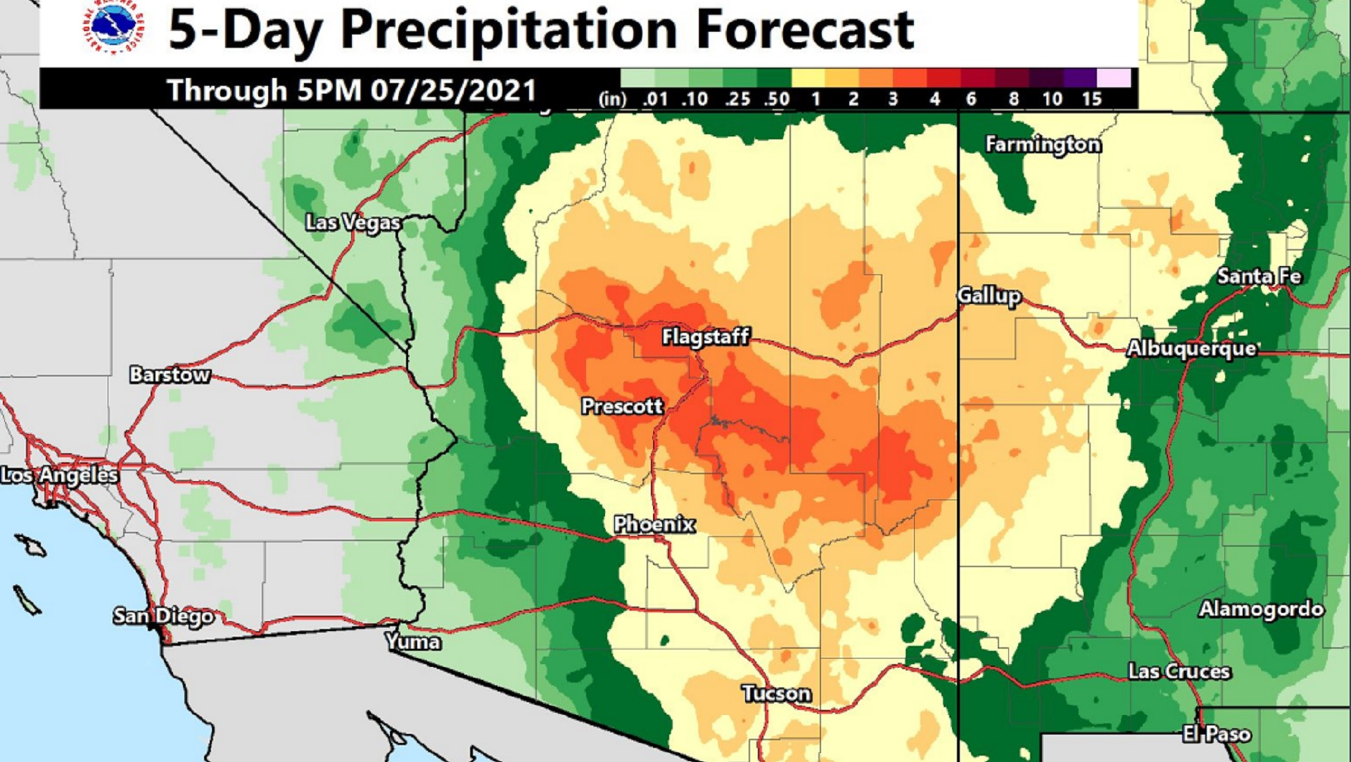 This five day precipitation forecast map released by the National Weather Service on July 21, 2021 shows that much of the state's midsection is expected to get at least one inch of rainfall, with some areas receiving up to three inches, by Saturday night.   Nearly all of the state is under a flash flood watch through 11:00 p.m. Saturday.