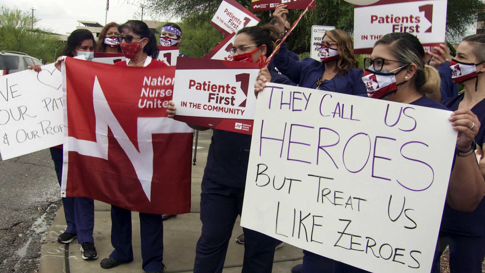 Nurses protest staffing shortages outside St. Mary's Hospital in Tucson on July 14, 2021.