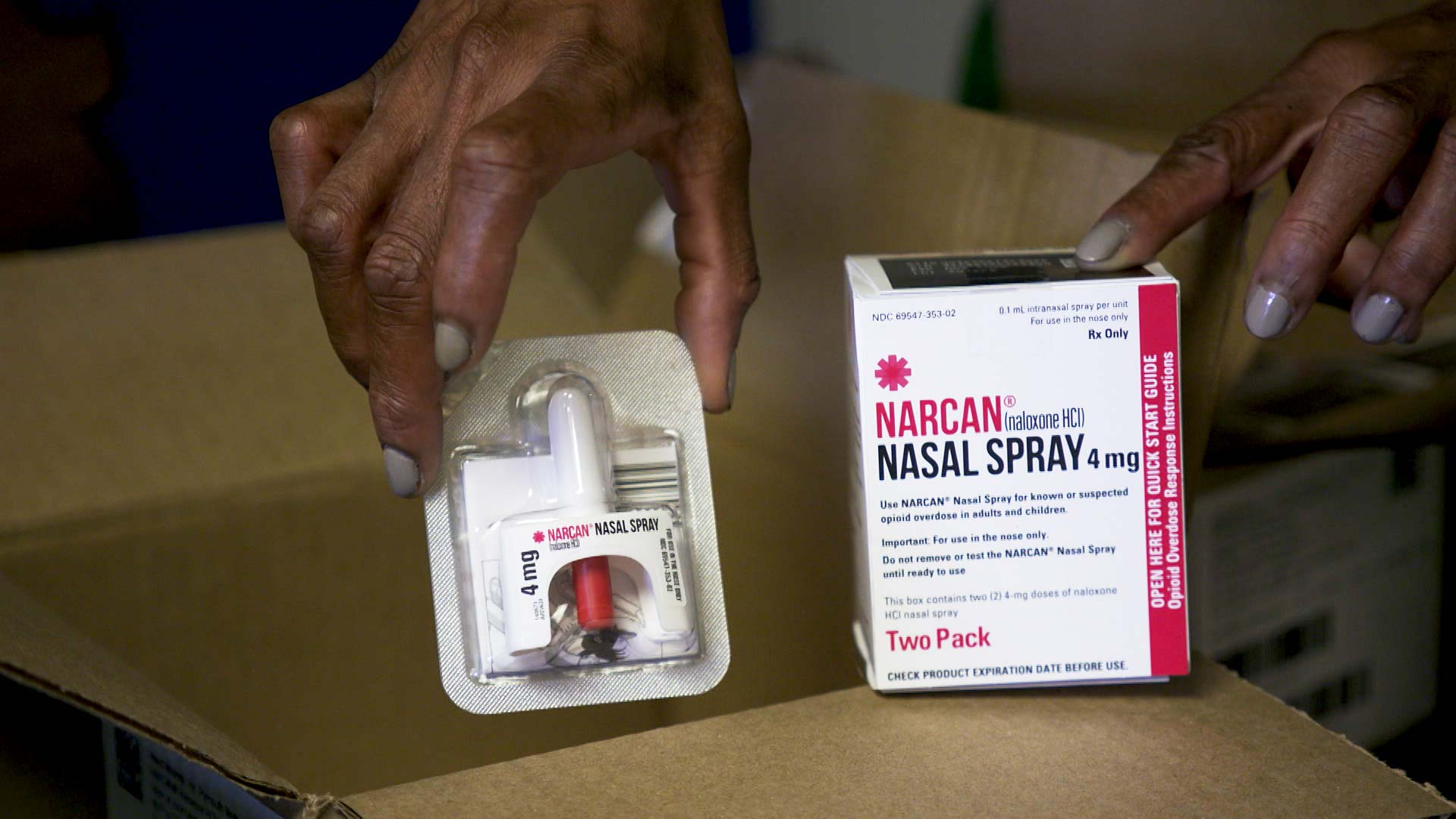 A package of Narcan Nasal Spray, a form of naloxone that can be used to reverse the effects of an opioid overdose.