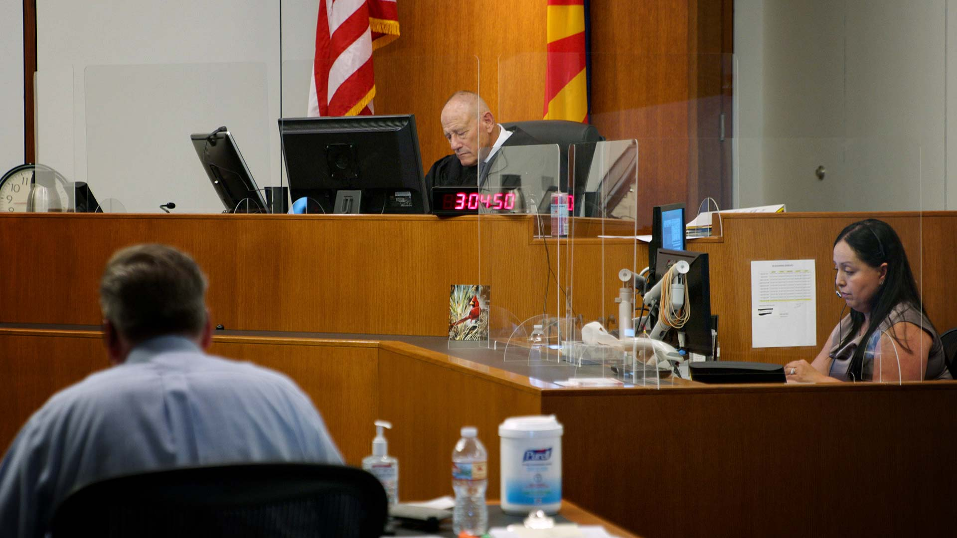 An eviction hearing takes place virtually in the courtroom of Judge Ronald Newman at the Pima County Consolidated Justice Court on Aug. 11, 2021.