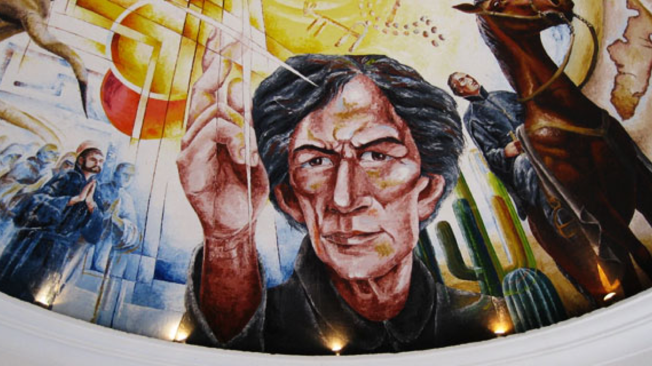 Mural depicting elements of the true story of Father Eusebio Kino (1645-1711).