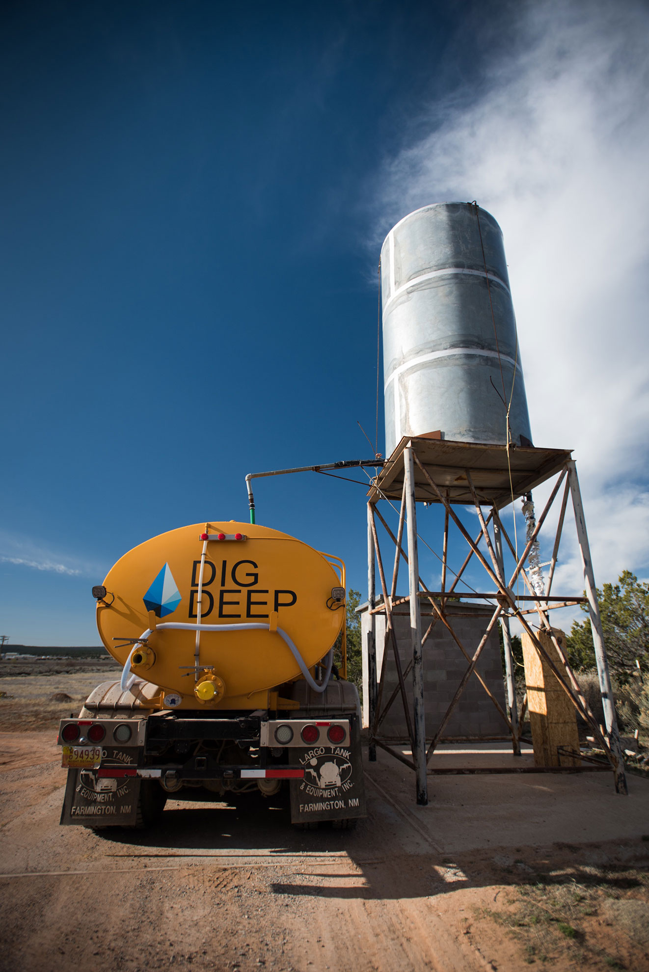 Navajo Water Project tank being filled