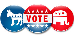 Democrat - Vote - GOP buttons