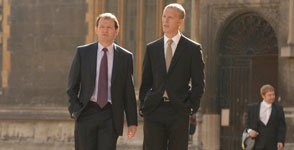 Kevin Whately as Inspector Lewis (left) and Laurence Fox as Hathaway (right)