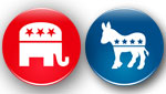 Republican and Democratic party buttons