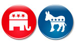 GOP & Dem buttons