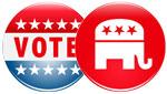 Vote GOP campaign buttons