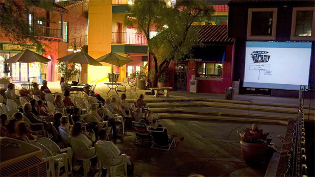 The scene at Cinema La Placita, a warm-weather, outdoor theater in open space at La Placita Village.