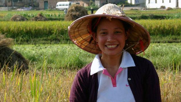Yang Haiyan in her family rice field