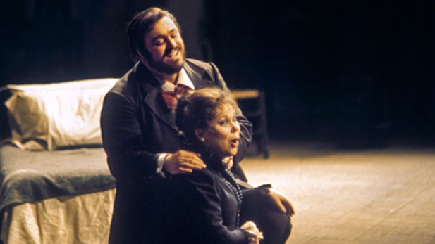 Renata Scotto as Mimi and Luciano Pavarotti as Rodolfo in Puccini's La Bohéme.