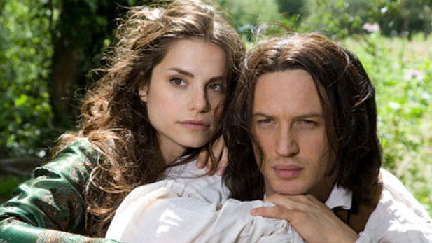 Charlotte Riley (left) as Cathy and Tom Hardy (right) as Heathcliff.