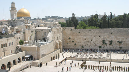 The Western Wall and Dome of the Rock in Jerusalem.
