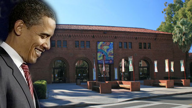 Obama and Centennial Hall