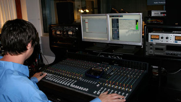 Recording Engineer Jim Blackwood in Radio Production Room