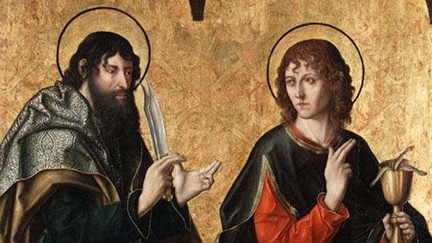 "Fernando Gallego's, ""St. Bartholomew and St. John the Evangelist"""